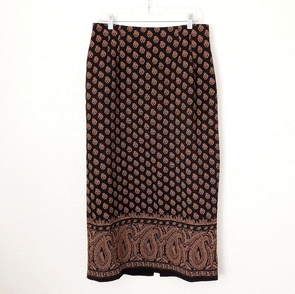 90s Brown Paisley Print Skirt